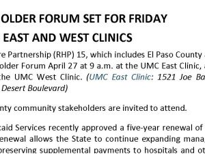 'RHP 15' Stakeholder Forum Set For Friday At UMC's East And West Clinics