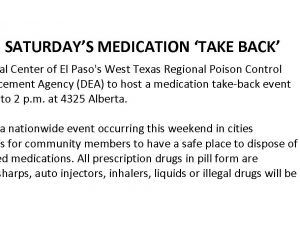 UMC Taking Part In Saturday's Medication 'Take-Back' Event