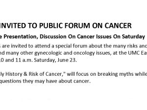 El Pasoans Invited To Public Forum On Cancer