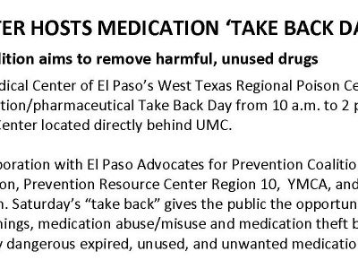 UMC's Poison Center Hosts Medication 'Take Back Day'