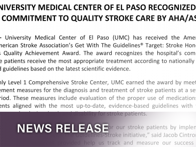 UMC Recognized For Commitment To Quality Stroke Care By AHA/ASA