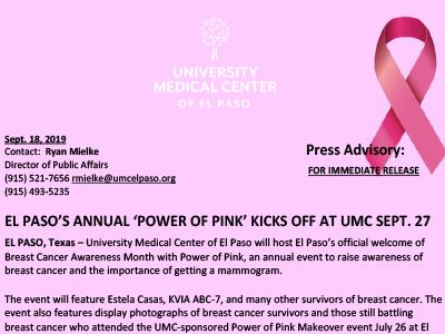 El Paso's Annual Power of Pink Kickoff Event Set For Sept. 27 at UMC